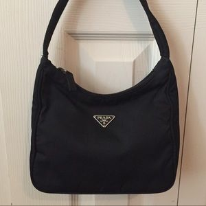 Prada Vintage Black Tessuto Nylon Mini Hobo